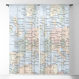 World Map Europe Sheer Curtain