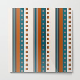Stripes and Squares in Terracotta and Teal Metal Print