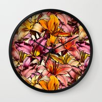 bedding Wall Clocks featuring Daylily Drama - a floral illustration pattern by micklyn