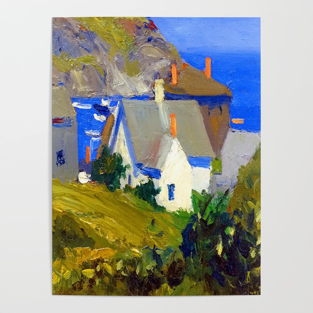 Edward Hopper Monhegan Houses Poster by jjbzz
