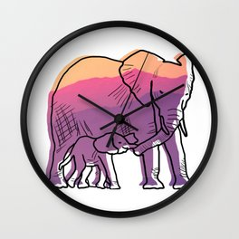 Elephant Mother And Baby Wall Clock