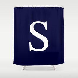 Navy Blue Basic Monogram S Shower Curtain