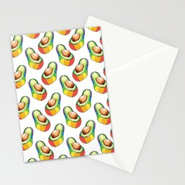 rainbow avocado pattern Stationery Cards