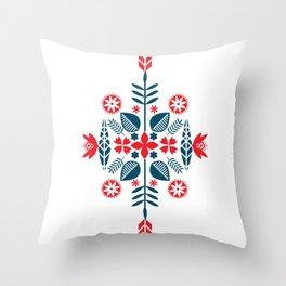 Scandinavian Folk Pattern Throw Pillow