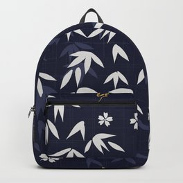 White bamboo leaves Japanese pattern Backpack