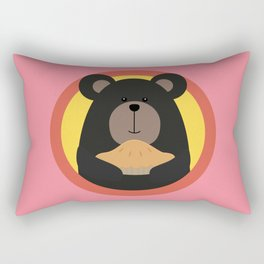 Grizzly with cake in circle Rectangular Pillow