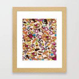 Cartoon Junk food pattern. Framed Art Print