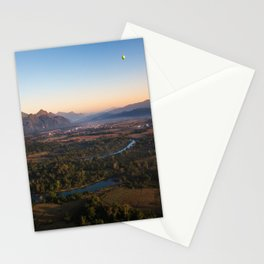 Landscape with mountains and river from hot air balloon in Laos | Aerial photo | Travel photography Stationery Cards