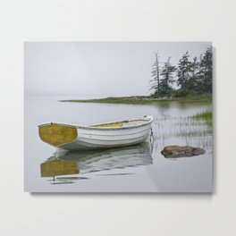 White Maine Boat on a Foggy Morning Metal Print