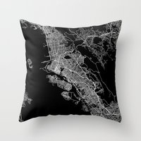 oakland Throw Pillows featuring oakland map california by Line Line Lines