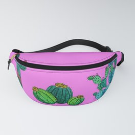 Gouache Watercolor cactus pink background Fanny Pack