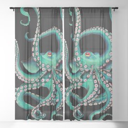 Octopus Tentacles Dance Teal Watercolor Ink Black Sheer Curtain