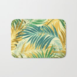 Palm Leaves in Yellow Bath Mat