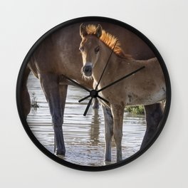 Colt with Raccoon Eyes and a Mane Like a Flame Wall Clock