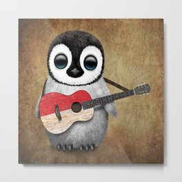 Baby Penguin Playing Indonesian Flag Acoustic Guitar Metal Print