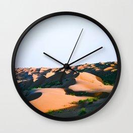 Mid Century Modern Round Circle Photo Desert Sands With Green Plants Shrub Wall Clock