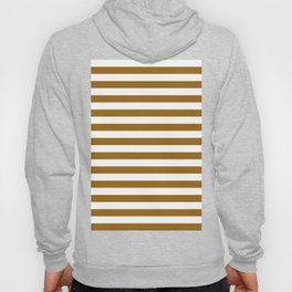 Narrow Horizontal Stripes - White and Golden Brown Hoody