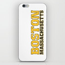 BostonMassachusetts, black and gold vertical  iPhone Skin