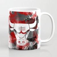 chicago bulls Mugs featuring Bulls Splatter by OhMyGod, SoGood!