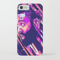 nba iPhone & iPod Cases featuring James harden nba illu v3 by mergedvisible