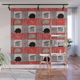 Hedgie Plaid Wall Mural
