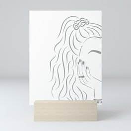Scrunchy Girl Line Art Drawing // Gray (Face Portrait Eyebrows Nails Jewelry) Mini Art Print