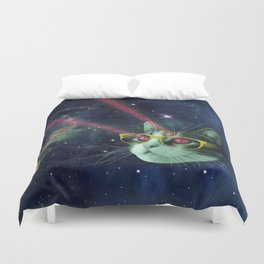 Laser Cat With Glasses In Space Duvet Cover