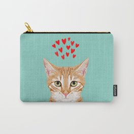 Mackenzie - Orange Tabby Cute Valentines Day Kitten Girly Retro Cat Art cell phone Carry-All Pouch
