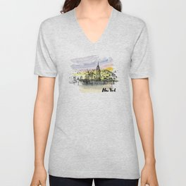 New York. Watercolor and ink. Unisex V-Neck