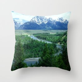 Grand Tetons Snow-Covered Mountains And Snake River Throw Pillow