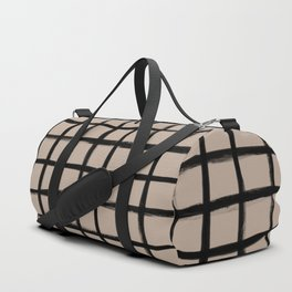 Strokes Grid - Black on Nude Duffle Bag