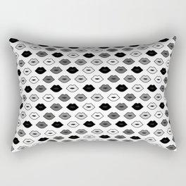 Chessboard Lips - Black and White Rectangular Pillow