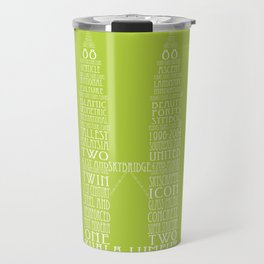 'Wordy Structures' Petronas Towers (green) Travel Mug