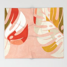 shapes leave minimal abstract art Throw Blanket