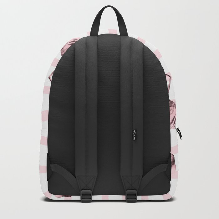 Flamingos on Drawn Stripes in Pink Flamingo Backpack