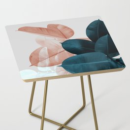 Blush & Blue Leaves Side Table