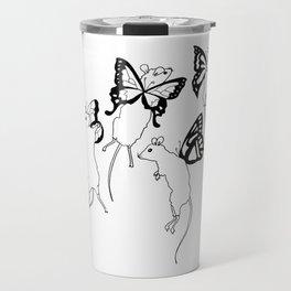 Black Ink Mouse Fairies Art Print Travel Mug