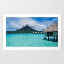 tropical, bungalows, sea, beautiful, summer Art Print