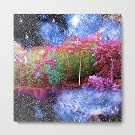 Trees Starry Night Lake Metal Print