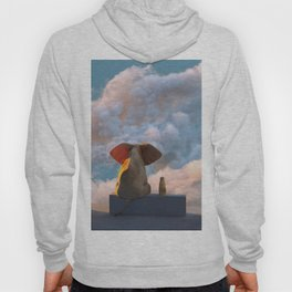 elephant and dog look through the door at the clouds Hoody