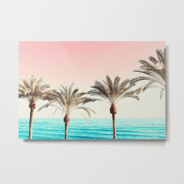 Modern California Vibes pink sky blue seascape tropical palm tree beach photography Metal Print