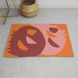 Two little monsters graphic design characters Rug