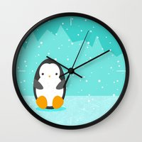 penguin Wall Clocks featuring Penguin by eDrawings38