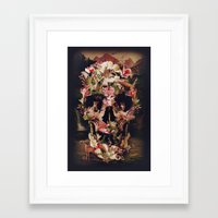 jungle Framed Art Prints featuring Jungle Skull by Ali GULEC