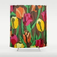 tulips Shower Curtains featuring Tulips  by Marjolein