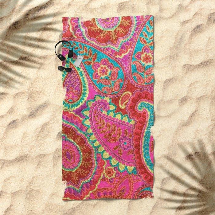 Floral Paisley Pattern 07 Beach Towel