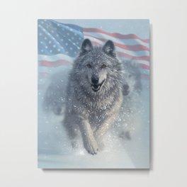 Running Wolves America Metal Print