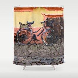 Bicycle On Cobblestone Sidewalk Shower Curtain