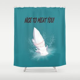Bloody nice to meat you! (table manners 101) Shower Curtain