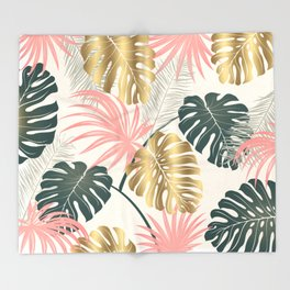 Tropical Print with Gold Throw Blanket